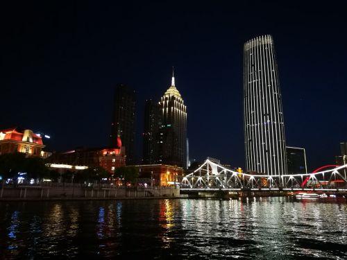 tianjin night view pier