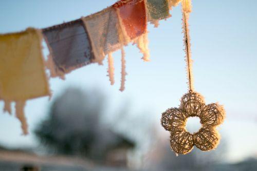 tibetan prayer flags winter frozen