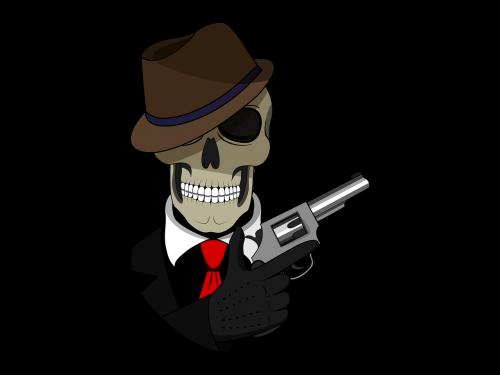 tie skull fedora
