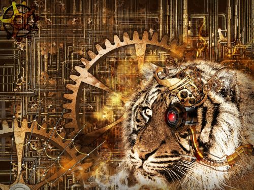 tiger head steampunk
