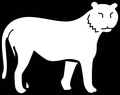 tigras,tuščias,nėra juostų,kontūrai,balta,stovėti,žiūrėti,katė,gyvūnas,laukiniai,nemokama vektorinė grafika