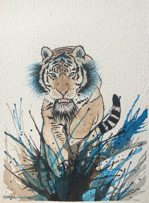 tiger  watercolor  art
