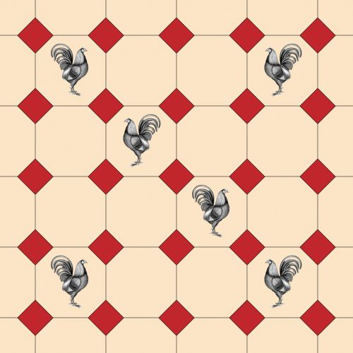 Tile Pattern With Roosters