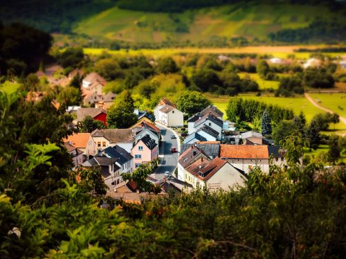 tilt shift village landscape