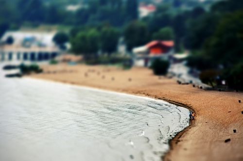 tilt-shift beach poland
