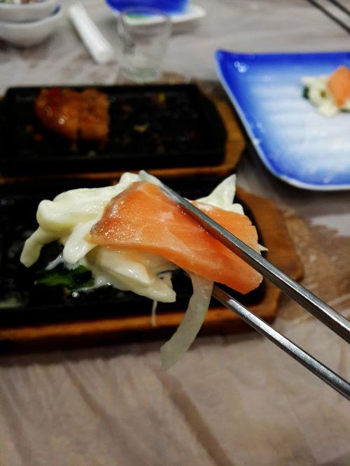 time salmon times chopsticks
