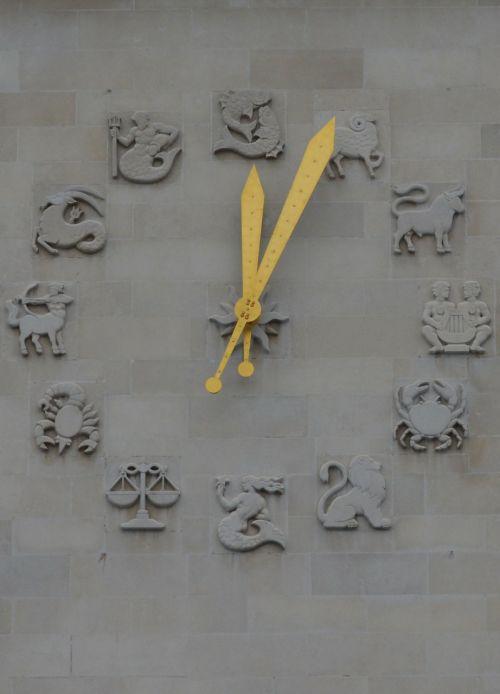 timepiece clock zodiac signs