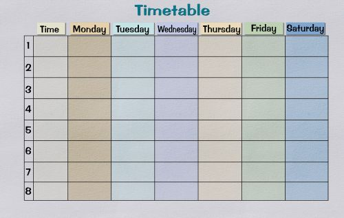 timetable paper print template
