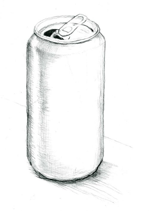 tin can pencil drawing grayscale scan