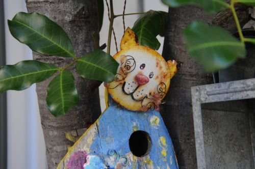 Tin Cat Bird House