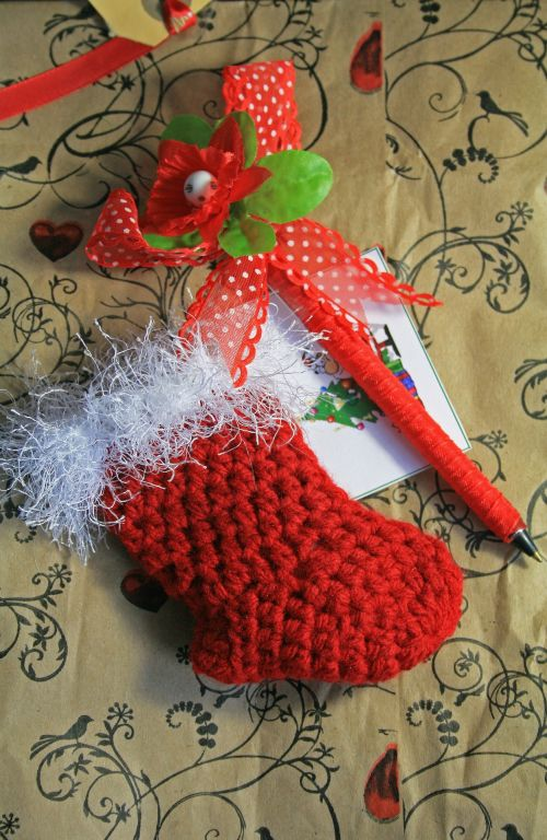Tiny Christmas Stocking In Red