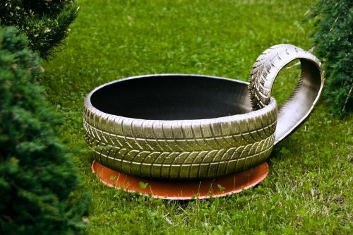 tire recycling grass green