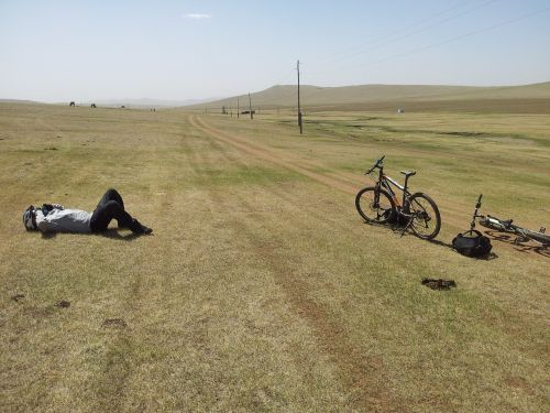 tired bicyclist mongolia