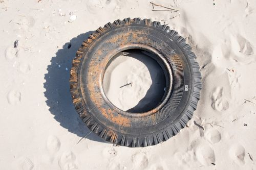 tires rubber sand