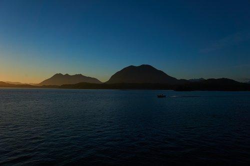 tofino  mountains  sunset