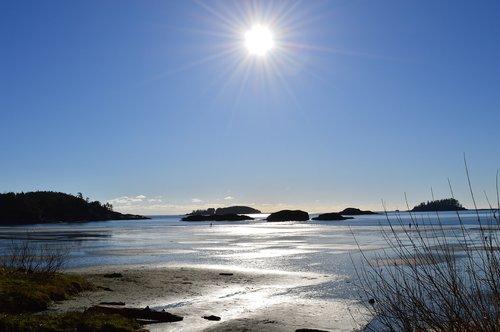 tofino  low tide  sun