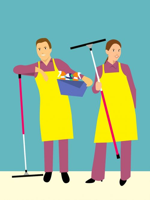 together cleaning the house family husband