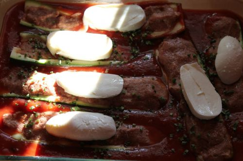 tomato sauce zucchini mozzarella