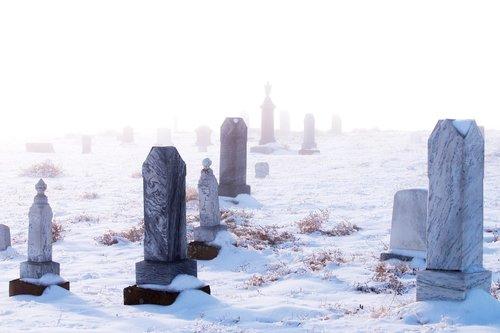 tombstones  fog  winter