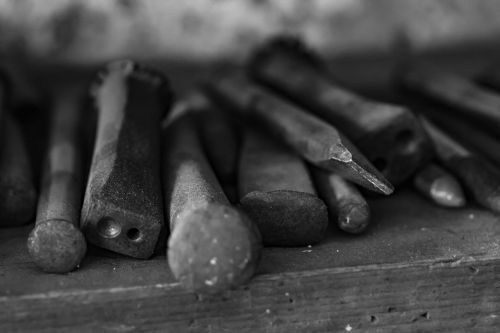 tools old tools black and white
