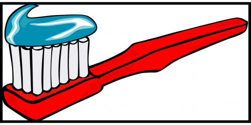 toothbrush toothpaste red