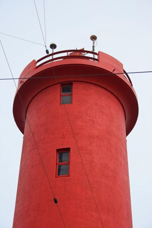 švyturys, bokštas, įspėjimas, jūrų, raudona, aukštas, langai, raudonos švyturio viršus