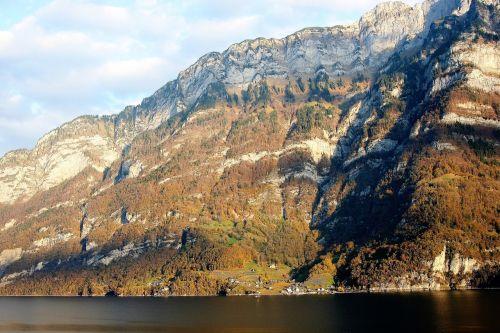 top view autumn rocks
