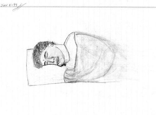 hand drawing man sleeping draw