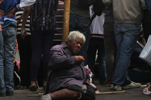 tourist beggar old