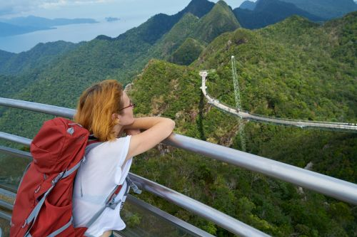 tourist women's landscape