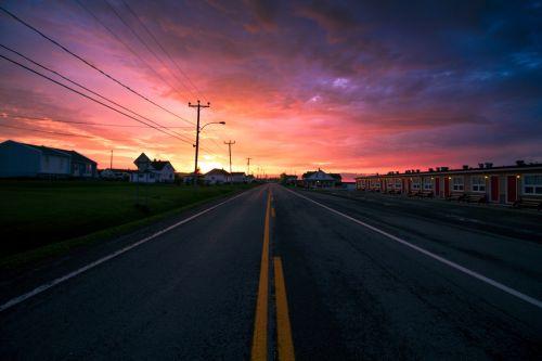 tourist path road sunset