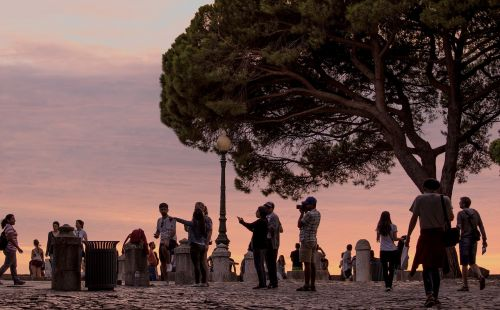 tourists lisbon background