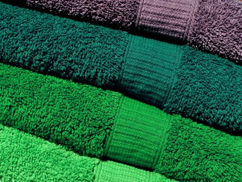 towels green grey