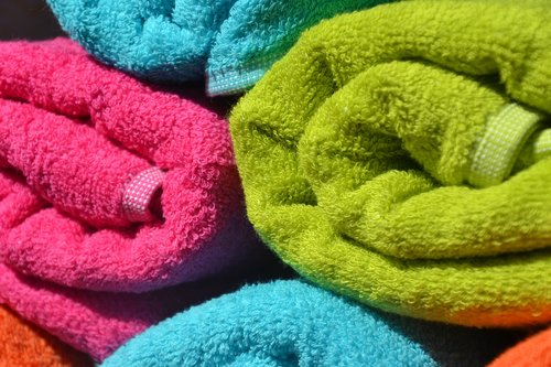 towels  colorful  rolled