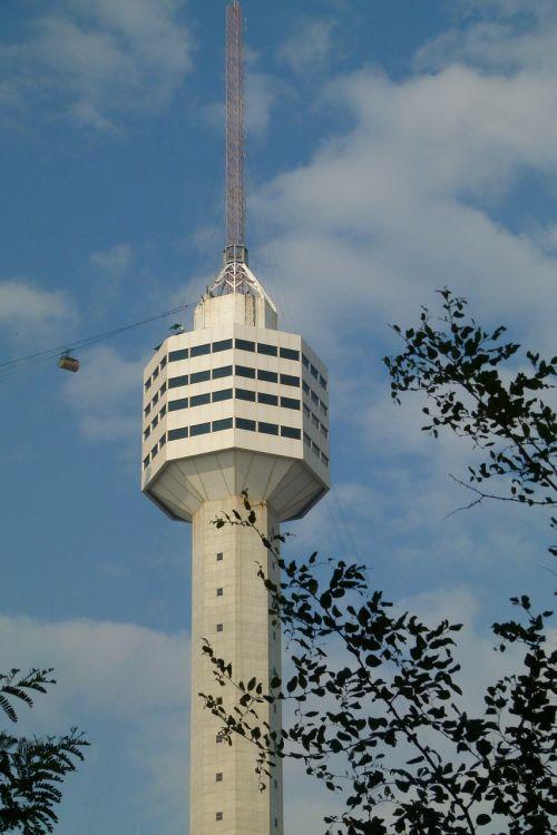 bokštas,radijo bokštas,aukštas,tv bokštas,pastatas,transmisijos bokštas,restoranas,Tailandas,dangus,debesys,šiuolaikiška,turizmas
