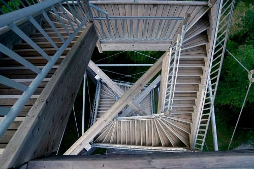 tower stair step wooden construction