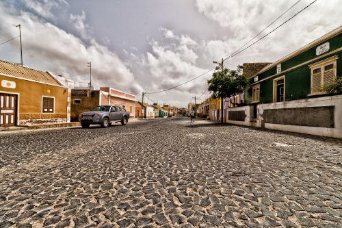 town centre island cobblestones
