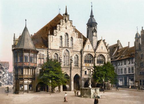 miesto rotušė,Hildesheimo Vokietija,1900,fotochromas,Vokietija,miestas,architektūra