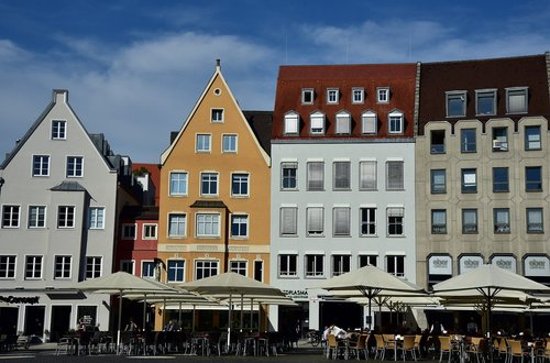 town hall square  augsburg  houses
