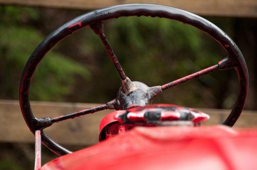 tractor steering wheel red