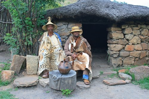 traditional basotho men  dress  skins