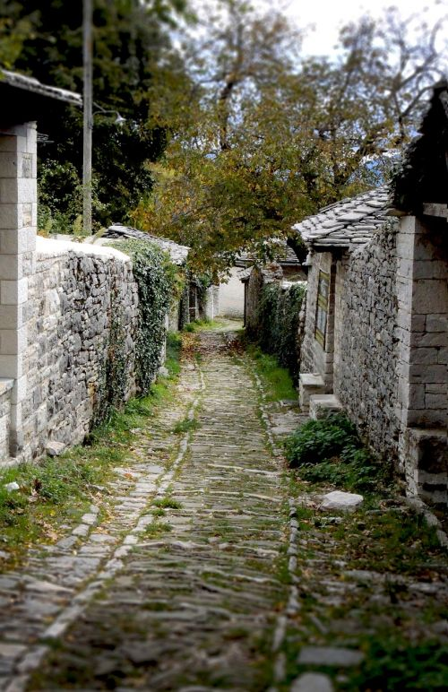 traditional village greece path