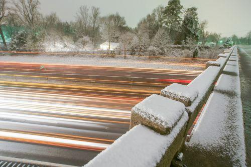 Traffic Light Trails Seen On Bridge
