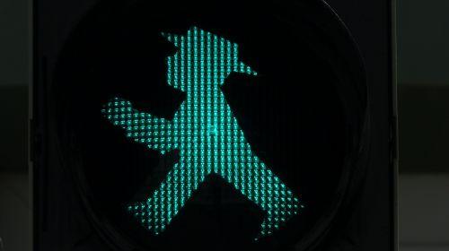 traffic lights footbridge little green man