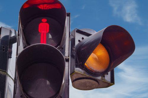 traffic lights footbridge red