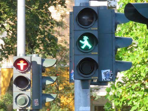 traffic lights little green man green