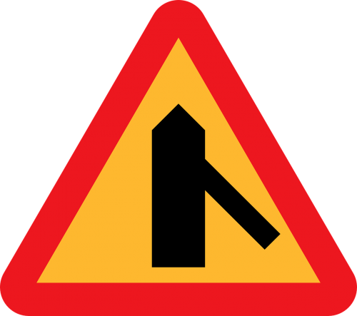 traffic merges merge from the right roadsign