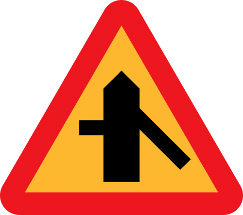 traffic merges from the right side road roadsign