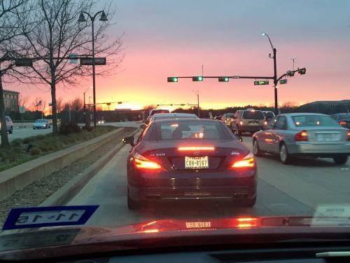 saulėlydis, spalvos, eismas, dangus, automobiliai, miestas, eismas gražioje dieną