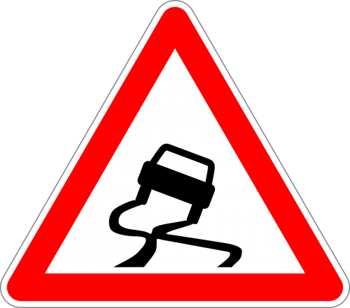 traffic sign sign slippery road